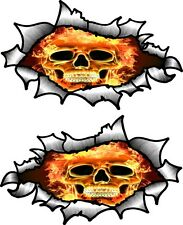 Small Pair Oval Ripped Torn Metal To Reveal Flaming Skull Fire car sticker Decal