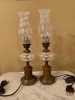 """PAIR Fenton COIN DOT FRENCH OPALESCENT 15"""" TALL BOUDOIR LAMPS W/BRASS BASE"""