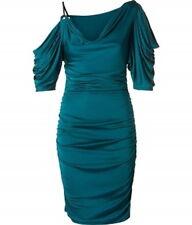 NEW CATHERINE MALANDRINO Petrol Silk Ruched DRESS SIZE S (4-6) $450 NORDSTROM