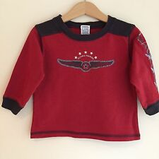 Gymboree 12-18 months boys long sleeve, flying hawks, red, blue