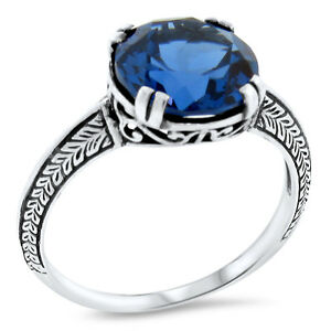 4.5 CT LONDON BLUE SIM TOPAZ ANTIQUE DECO STYLE 925 STERLING SILVER RING    #507