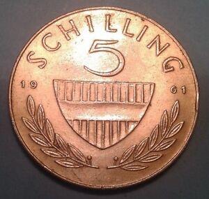 Austria silver 5 Schilling coin 1961