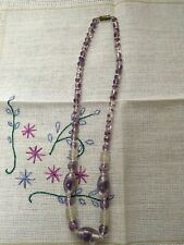 Art Glass Necklace Lovely Lilac Vintage