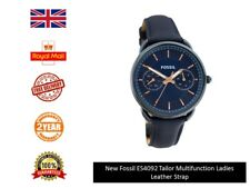 New UK Fossil ES4092 Women's Ladies Girls Tailor Blue Dial Leather Strap Watch