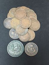 1857 Canadian One Half Penny Token & 1824 Penny Token & 25 1 Cents Coins