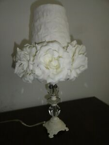 New April Cornell White Rose Lamp Shade Victorian Chic Vintage Shabby Floral NWT