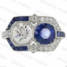 Silver Round White Blue Diamond Jm Vintage Art Deco Engagement Wedding Ring 925