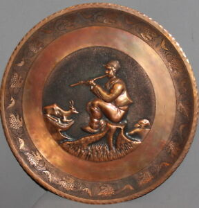 VINTAGE HAND MADE FLORAL ENGRAVED RELIEF COPPER PLATE BOY WITH FLUTE GOAT