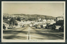 CA Laguna Beach RPPC 1940's STREET SCENE Coast Highway Hwy 1 CARS Stores