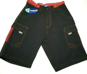 Outlooks Men's Shorts Size 30 Black and Red Wide Leg Bermuda New