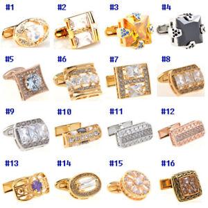 Luxury Gold Mens Cufflinks With Crystal Wedding French Shirt Cuff links