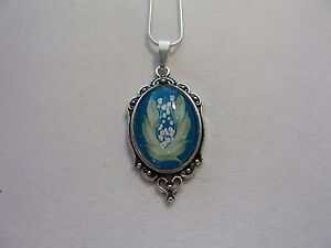 """VICTORIAN ANTIQUE SILVER LILY OF THE VALLEY NECKLACE 20"""" CHAIN (SMALL)"""