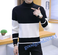 Winter Mens Color Stitching Half-collar Sweater Selfdom Knitted Under Shirt Boys