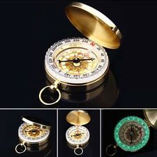 Useful 1Pcs Travel Camping Hiking Pocket Watch Style Luminous Brass Compass Tool