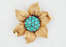 Vintage 1970's 18kt Yellow Gold Florentine Flower Brooch