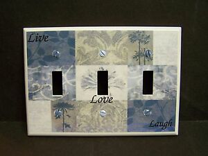LIVE LAUGH LOVE  NINE PATCH SHADES OF BLUE  LIGHT SWITCH COVER PLATE