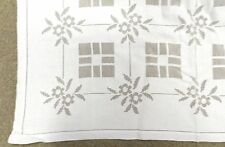 Vintage Table Cloth White Hemstitched Sheer Floral Linens Rectangle 80 x 64