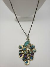 Brass Tone and Rhinestone Peacock Necklace W9