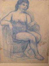ANDREI René (1906 -1987) Sculpteur Graveur Français Nu au Fauteuil  Dessin signé