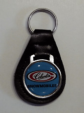Reproduction Vintage Columbia Snowmobile Medallion Style Leather Keychain