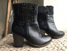 Desigual genuine black leather & fabric  boots eur 38 uk 5