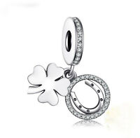GENUINE .925 Sterling Silver LUCKY HORSESHOE FOUR LEAF CLOVER PENDANT CHARM BEAD