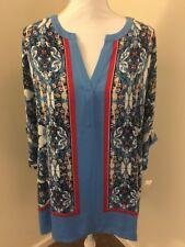Rafaellla Women's Plus Size Persian Tile Print Liquid Crepe Top Blue Size 3x