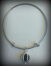 Silver Tone Adjustable Bangle Bracelet Lava Bead Charm Diffuser Essential RTS