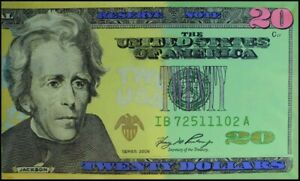 "Steve Kaufman""Large $20 Bill"" $$$ Acrylic stretched Canvas Make an Offer"