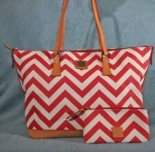 Dooney & Bourke Coated Canvas Leather Trim Shopper Tote with matching wallet