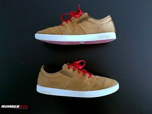 Supra Terry Kennedy Tan Brown White Red Canvas Skateboard Shoes Size 11.5 Stacks