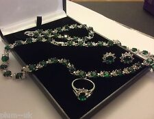SET Green emerald WHITE GOLD GF matching earrings necklace bracelet ring Plum UK