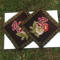 "PAIR Vintage Wool Needlepoint Handmade Accent Pillow Covers Floral 18""x18"""
