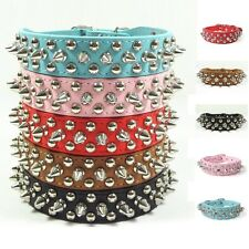 Spiked Dog Pet Cat Adjustable Buckle Leather Rivet Studded Strap Collar