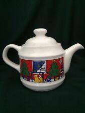 VINTAGE HOUZE STAFFORDSHIRE ENGLAND TEA POT 1985 (CHRISTMAS - HOLIDAY)