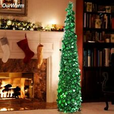 Tree Artificial Christmas UpPop Tinsel Stand Collapsible Decorations SilverGreen