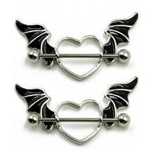 14G Stainless Steel Bat Wing Nipple Shield Ring Nipple Piercing Barbell Jewelry