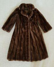 VTG Flemington Real MINK FUR VISONE Natural BROWN COAT Full Lenght Size SMALL