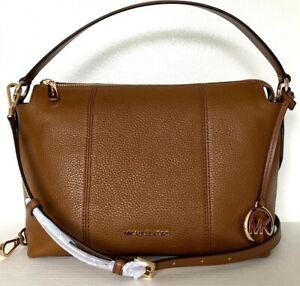New Michael Kors Brooke Medium Shoulder Bag Pebble Leather Luggage