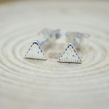 925 Sterling Silver Plated Cute Little Small Stripe Triangle Stud Earrings Gift