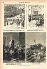 Patinage sur Lac/Prière Hôpital Saint-Louis Paris/ Autruche Gazelle GRAVURE 1882