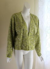 NWT Chico's -Sz 3 XL Lime Green Completely Sequined Open Silk Jacket Artsy Funky