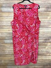 Chaps Womens 22W V Neck Ruched Sheath Dress Red Floral Print Stretch Knit