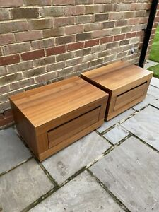 Pair Of Walnut Effect Bed Side Tables