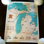 Historical Society of Michigan 1963 Color State Map Poster 19 x 25 Alvin Engler