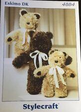"DK Knitting Pattern  animal Three  Teddy Bear Toy 12/20"" In Height"