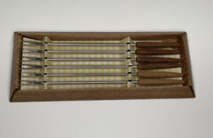 Vintage Stainless Steel Fondue Forks with wood handle Set 6 (Japan)