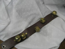 Vintage Sleigh bells 5 on leather piece with hole in leather to hock on sleigh