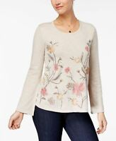 Style Co Embroidered Bell-Sleeve Sweate Natural Heather Combo XXL