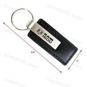 For DODGE RAM 1500 Key Ring Black Leather Rectangular Keychain - KC1540.R15